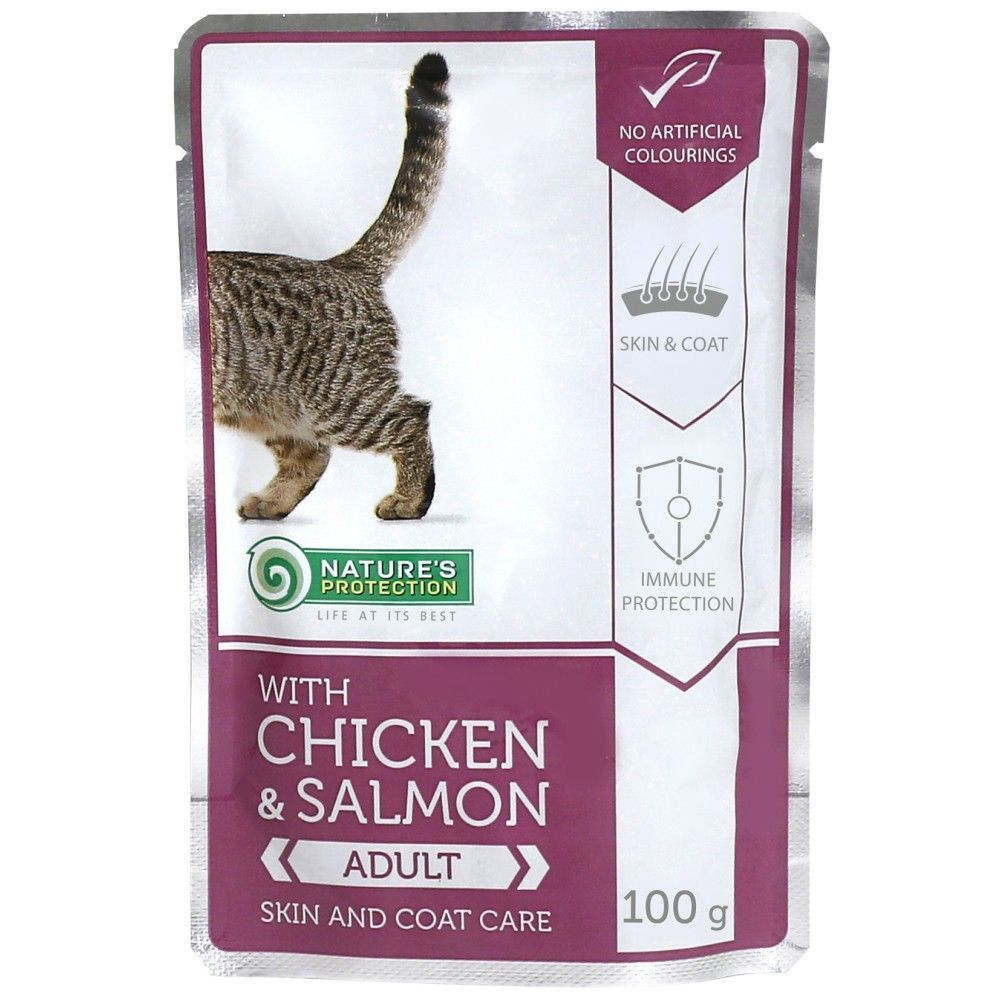 Natures Protection Cat kapsa Adult Chicken & Salmon - Skin & Coat Care 100g Nature´s Protection